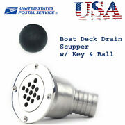 316 Stainless Steel Boat Marine Deck Drain Scupper Tube For Hose 1-1/2 Usa