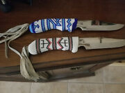 Vintage Native American Indian Beaded Knives With White Leather End Pieces