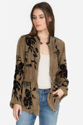Johnny Was Brown Crawford Cupra Jacket Xs Zip Up Floral Embroidery Boho Nwt