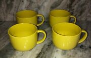 Plates And Beyond Yellow Cereal/serving Bowl W Handle-set Of 4-micro Dishw Safe