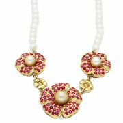 Vintage 18carat Yellow Gold 16.5 Ruby And Pearl Necklace 6mm Wide