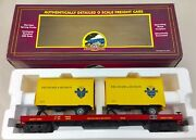 Mth O Scale 2098108 Canadian Delaware And Hudson Flatcar W/ 20' Trailers