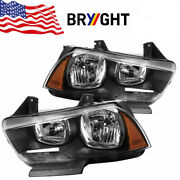 2011-2014 Dodge Charger Halogen Headlights Headlamps Replacement Left+right Blk