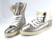 Arizona Stevie Pewter Tennis Shoes Size 11m Cuffed High-top Faux Fur Lining
