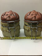 Adorable And Hard To Find Vintage Uctci Japan Pair Of Grandma Stoneware Jars