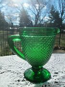 Vintage Emerald Green Footed Pressed Diamond Cut Glass Pitcher 8