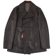 Nwt 4250 Isaia Dark Brown Leather Pea Coat With Wool Lining Xxl Eu 56