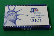 2001 Us Mint Proof Set With Box And Coa 10 Coins Including 5 State Quarters