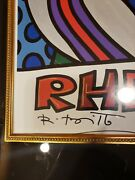 Romero Britto Rhein-fire European Football Autographed Beautifully Framed Papers