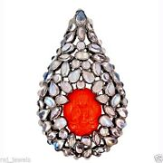 Carved Buddha Coral Gemstone Sterling Silver Drop Pendant 14k Gold Jewelry Qy