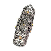.925 Sterling Silver Pave Diamond Knuckle Full Finger Ring 14k Gold Fine Jewelry