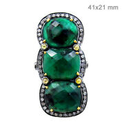 Diamond Pave Emerald Fine Ring 14k Gold Sterling Silver Antique Style Jewelry Cy