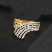 Solid 14k Yellow Gold Pave Natural Diamond Crown Ring Vintage Style Jewelry New