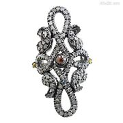 Natural Pave Diamond Antique Finish Ring 925 Sterling Silver Handmade Jewelry Qy