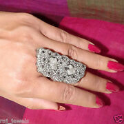 Natural 9.8ct Diamond Pave Antique Look Ring 925 Sterling Silver Fine Jewelry Py