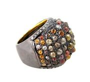 12.42ct Diamond Pave Sterling Silver Domed Ring 14k Gold Vintage Look Jewelry Cy