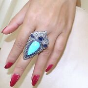 Pave Diamond Blue Sapphire Turquoise Gemstone Ring 925 Sterling Silver Jewelry