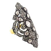 Vintage Look Ring 14k Yellow Gold Rosecut Diamond 925 Sterling Silver Jewelry Cy