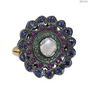 Ruby Sapphire Tsavorite Cocktail Ring Sterling Silver Pave Diamond 14k Gold Oy