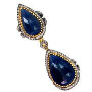 Sapphire Armor Knuckle Ring 925 Silver 14k Gold Jewelry 2.3ct Diamond Pave By