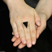 14k Yellow Gold Black Spinel Triangle Ring Natural Diamond Pave Gemstone Jewelry