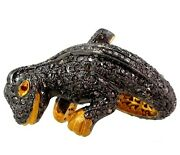 4.72 Ct Diamond Pave Sterling Silver Lizard Ring 14k Gold Halloween Gift Jewelry