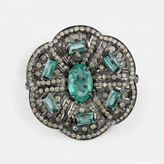 Emerald Gemstone Ring 925 Sterling Silver Diamond Pave Fine Jewelry New Arrivals