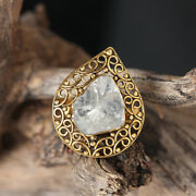 Rose Cut Diamond Cocktail Ring Solid 14k Yellow Gold Fine Jewelry