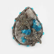 Blue Druzy Diamond Marine Ring 925 Sterling Silver Gemstone Turquoise Jewelry 7and039