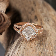 Solid 18k Rose Gold Pave Baguette Natural Diamond Ring Jewelry Motherand039s Day Gift