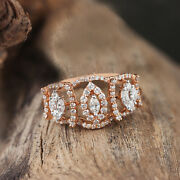 Pave Real Diamond Solid 18k Rose Gold Statement Ring Fine Jewelry New Collection