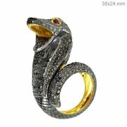 4.52ct Genuine Pave Diamond Antique Finish Ring 925 Sterling Silver Ruby Jewelry