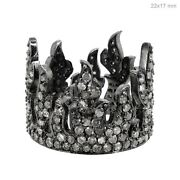 925 Sterling Silver Diamond Pave Crown Shape Antique Style Ring Handmade Jewelry