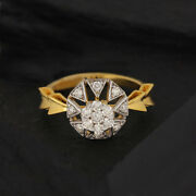 Natural Diamond Pave 14k Yellow Solid Gold Ring Jewelry