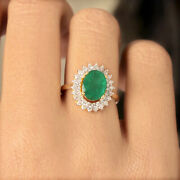 Emerald Gemstone Ring Solid 14k Yellow Gold Pave Natural Diamond Fine Jewelry