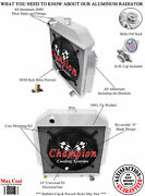 4 Row Rel Champion Radiator W/ 16 Fan For 1949 - 1953 Ford Cars Chevy Engine