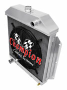 4 Row Rel Champion Radiator W/ 16 Fan For 1949 - 1953 Ford Cars Ford V8 Engine