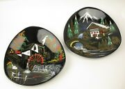 French Longwy Mid Century Hand Painted Plates France Land039ecluse And Haute Montagne