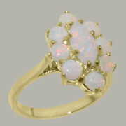 Solid 14ct Yellow Gold Natural Opal Womens Cluster Ring - Sizes J To Z