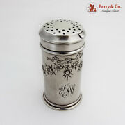 Floral Powder Jar Shaker Whiting Sterling Silver 1920 Mono Ejw