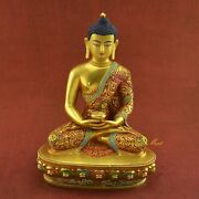 Carved Painted 11andrdquo Amitabha Buddha / Sangye Opame Copper Statue From Patan Nepal