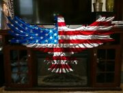 Metal Wall Art Eagle Large Metal American Flag Cottage Country Patio Gift Ideas