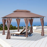 10and039x13and039 Outdoor 2-tier Vented Canopy Steel Gazebo Bbq Party Tent Shelter Shade