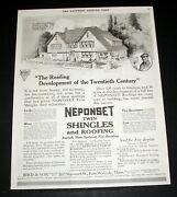 1917 Old Magazine Print Ad Neponset Twin Shingles And Roofing Asphalt And Slate