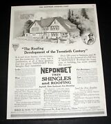 1917 Old Magazine Print Ad, Neponset Twin Shingles And Roofing, Asphalt And Slate