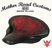 Spring Solo Seat Harley Touring Indian Chief 17x16 Tractor Antique Red Tooled