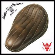 Chopper Harley Sportster Bobber Bates Seat 11x14 Brown Tuck Roll Leather