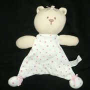 Starting Out Tan Pink White Polka Dot Bear Security Blanket Lovey Small Flat