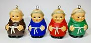 Set Four 4 Goebel Friar Tuck Ornaments Brown Red Green Blue Monks Xmas Cardinal