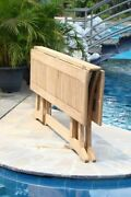 7-piece Outdoor Teak Dining Set 69 Console Table, 6 Stacking Arm Chairs Goa